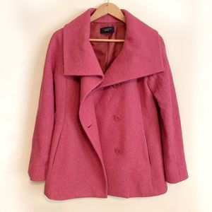 Talbots Rose Pink Wool Rayon Button Up Coat Sz 2